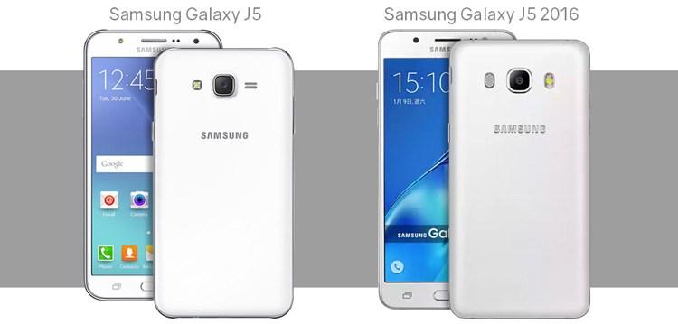 Modellvergleich zwischen Samsung Galaxy J5 und Samsung Galaxy J5 2016